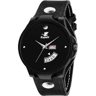 Espoir Analogue Black Dial Day and Date Men's Boy's Watch - BikerRyanMovado