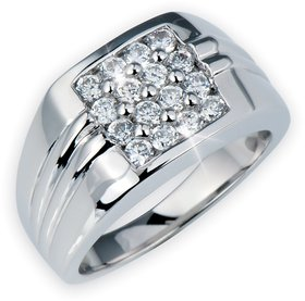 RM Jewellers 92.5 Sterling Silver American Diamond Best Awesome Ring for Men