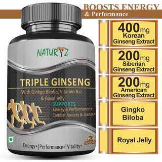 Naturyz Triple Ginseng with Ginkgo Biloba, Vitamin B12  Royal Jelly for Energy, Performance  Focus  60 Capsules