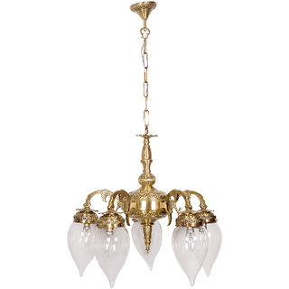 Fos Lighting Brass Cast Arm 5 Light Downward Chandelier with Clear Water Droplet Glasses