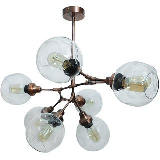 Fos Lighting Branching 8 Light Antique Copper Chandelier