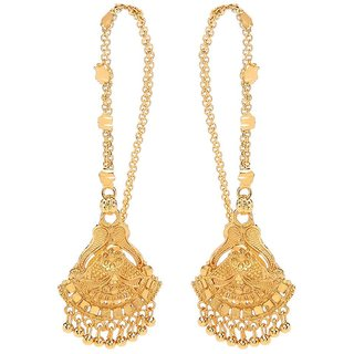 GoldNera Traditional Bollywood style Classic Gold Plated Pair of Ear chain Earrings
