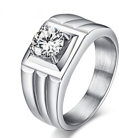 RM Jewellers 92.5 Sterling Silver American Diamond Best Amazing Ring for Men
