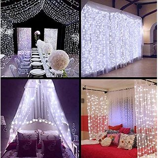 christmas waterfall led curtain light party wedding led string lights led icicle curtain light (white)