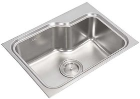 Anupam Stainless Steel Kitchen Sink 126 (615 x 465 x 225 mm / 24 x 18 x 9 inch) Single Square Bowl with Drain Board 304