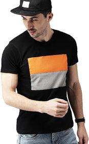 Leotude Men's Black Cotton Color Block T-Shirt