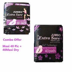 Extra Sure Sanitary Pad JUMBO XXXL For Women ( Maxi + Maxi Dry Combo) 80 Pic