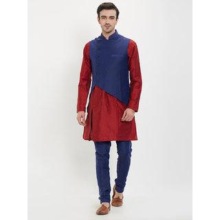 irin Poly Viscose Ethnic Set Of Navy Blue Koti (Waistcoat), Maroon and Navy Blue Kurta Churidar For Men