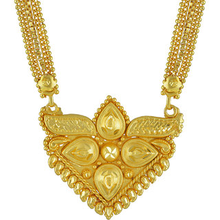 Memoir Gold Plated Brass, Hearts and Pear Shaped, Rich Hand chilai Work, Traditional Mangalsutra Women Latest Ethnic