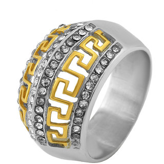 Memoir Yellow and White Gold Plated, International Famous Fashion Brand Versace Inspired, Fashion Finger Ring Men Wedding, Partywear
