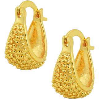 Memoir Gold Plated Small size latest Fashion, small basket shaped Hoop Bali Earring Traditional, for Women