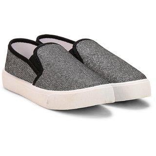 MYAU Kids Boys Girls Party wear Black Sparkled Loafer Slip On Shoes
