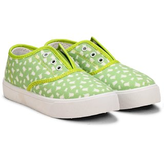 MYAU Kids Boys Girls Fashion Trendy Green Printed Slip On Loafers Casual Shoes