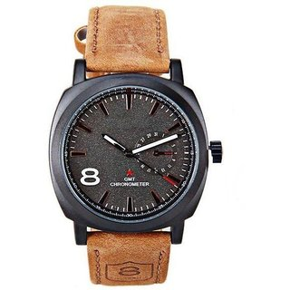 NEW BRAND Round Dial Brown Leather Strap Mens Watch FOR BOYS