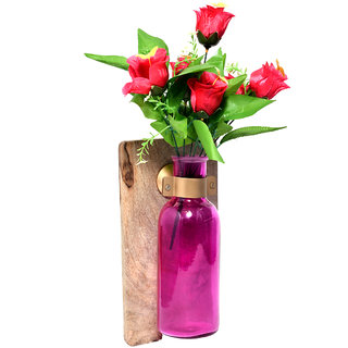 Beautiful Handcrafted Wooden And Glass Wall Panel Flower Pot Bottle Home Decorative