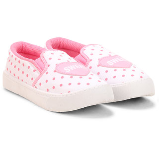 MYAU Kids Girls Heart Printed Navy Pink Dotted Casual Slip On Loafers Shoes