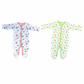 Krishnam Full Sleeve Cotton Sleep Suit Romper Set with Ribs for New Borns Pack of 2 Pcs. (Green  Light Pink, 0-3 Months