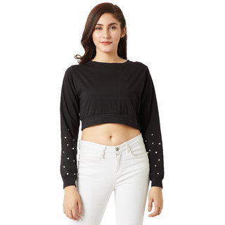 9af6a0aa484842 Miss Chase Women s Black Round Neck Full Sleeves Cotton Solid Pearl  Detailing Boxy Crop Top