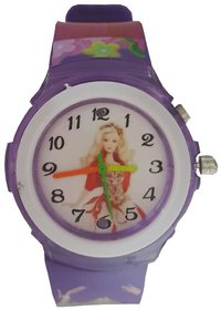 Barbie watch analog-digital purple colour kids girls watch