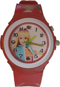 Barbie analog-digital red colour rubber fancy kids girls watch