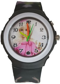 Barbie analog-digital black colour fancy kids girls watch