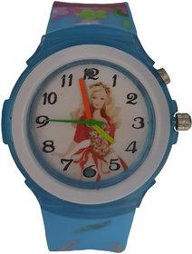 Barbie analog-digital blue colour fancy kids girls watch
