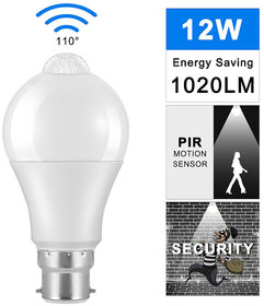 PIR-Human Body Motion Sensor B22 Led Bulb 12W (White) Security Night Light For Corridor Aisle Stairs Balcony Veranda