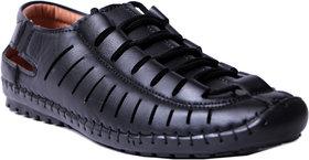 Roman Men's Black Slip on Sandals