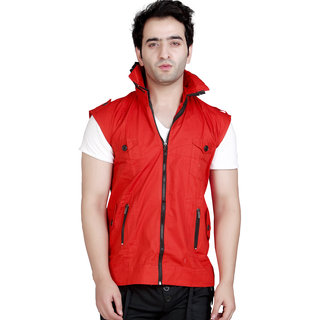 Conway Red Sleeveless Stylist Casual Jacket For Men's