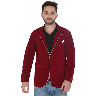 DK Designer Maroon Velvet Casual Blazer For Men's