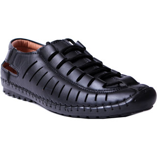 Roman Black Synthetic PVC Slip on Sandals For Men