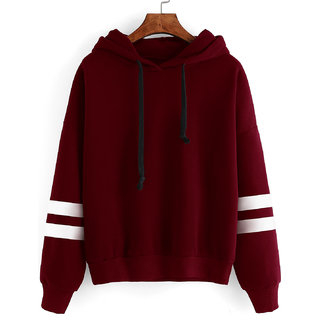 Raabta Fashion Maroon Hooded Sweatshirt For Women