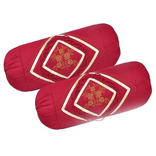 Manvi Creations Embroidered Bolsters Cover Size 75X38cm pack of 2