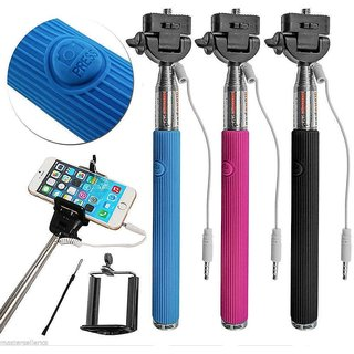 Fleejost Extendable Wired Selfie Stick Adjustable Holder for iPhone Android DevicesHandheld Portable for Perfect Sh