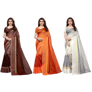 Indian Beauty Women's Multi Color Cotton Silk Plain Saree With Blouse Piece (Pack of 3_Brown-Orange-White_Free Size)