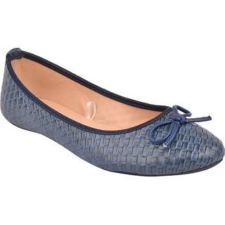 Flora Blue Textured Flat Bow Belly