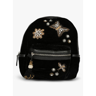 554d4d3bb6f5 Buy JL Collections Velvet Black Butterfly Patch Design Embroidery Stone  Fancy Backpack for Girls Online - Get 10% Off