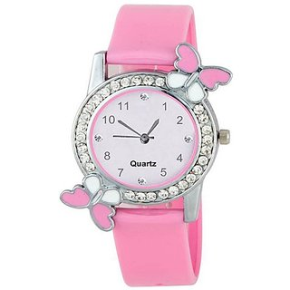 IDIVAS Round Dial Pink Rubber Strap Analog Watch For Women