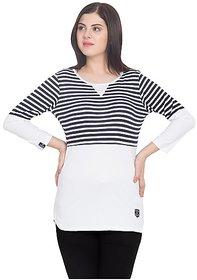 SBO Fashion Multicolor Full Sleeve Women's T-Shirt 5246NavyWht