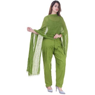 Real Bottom Pure Cotton (Mehndi Green) Patiala Salwar with Dupatta Set