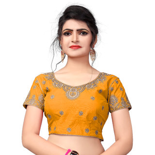 Amrutam Fab Designer Embroidered Yellow Silk Extra Sleeve With Blouse