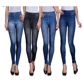 Oleva Women's Printed Denim Look Jeggings Combo (Pack Of 4)