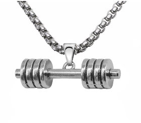 Sullery Sports Bodybuilder Fitness Dumbbells Weightlifting Xmas Gift for Men  Silver  Stainless Steel  Pendant Necklace For Men And Boys