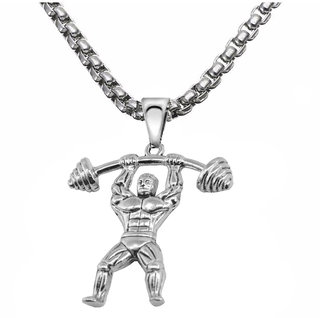Sullery Sports Bodybuilder Fitness Dumbbells Weightlifting Hercules Muscular Man Xmas Gift for Men  Silver  Stainless Steel  Pendant Necklace For Men And Boys