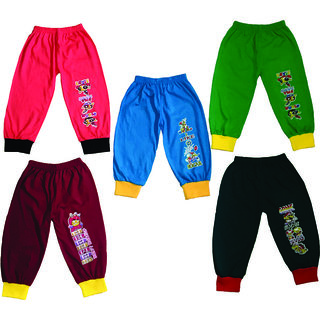 Om Shree Assorted Solid Kids Track Pant Pack of 5