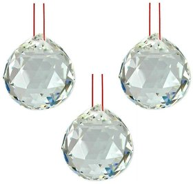 LOT of 3 FENG SHUI HANGING WHITE CRYSTAL BALL ( 40 mm )