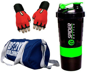 SNIPPER Combo of Bodybuilding Blue Bag , Gloves Red And Spider Shaker Green Gym  Fitness Kit ()
