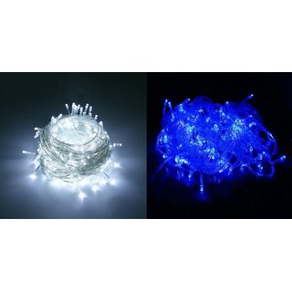 Combo of Blue  White Color Festival Decorative 39feet 54 Bulbs High Quality Indoor LED String Fairy Lights