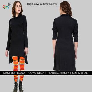 Cowl Neck Asymmetrical Hem Solid Black Jersey Dress