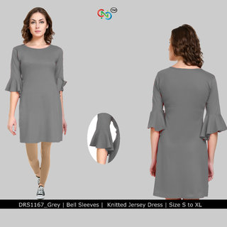 Short Dress with Ruffled Sleeves Grey Jersey Dress